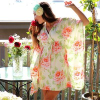 Mini Muumuu Hawaiian Beach Dress in Roses by mademoisellemermaid