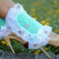 Mint Green Leg Warmers with Lace by by mademoisellemermaid on Etsy