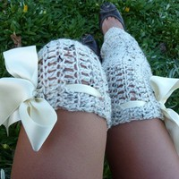 Leg warmers Thigh High Oatmeal by by mademoisellemermaid on Etsy
