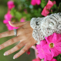 Crochet Flower Cuff in Oatmeal by by mademoisellemermaid on Etsy