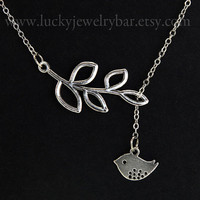 Bird and Branch Necklace, sweet gift for someone you love