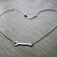 Arrow Necklace - Simple Modern Argentium Silver Necklace - Artisan Arrow Necklace