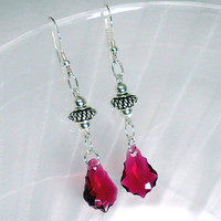 Pink Crystal Earrings, Dangle Sterling Silver Earrings, Swarovski Earrings