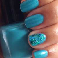 Sea Glass - Turquoise Nail Polish with shimmer - Full Size