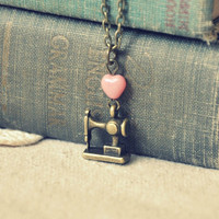 I heart sewing necklace by bellehibou on Etsy