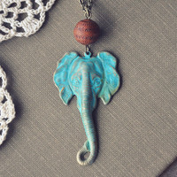 boho elephant necklace by bellehibou on Etsy