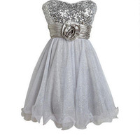 Silver Rose And Glitter Dress