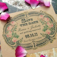 Eco Friendly Vintage Victorian Label Save the Date by sweetcookie