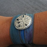 Silk Ribbon Wrap BraceletSand DollarFairy Wrap by bittyclippies