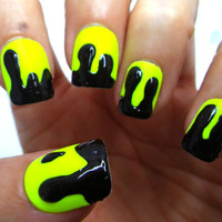 Glue On Nails Neon 3D Drippy Acid HAZpunk