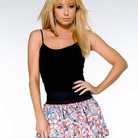 Satin Butterfly Print Bubble Skirt | Sexy Clothes Womens Sexy Dresses Sexy Clubwear Sexy Swimwear | Flirt Catalog