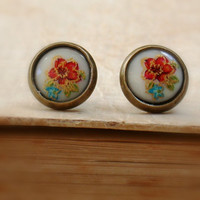Vintage Style Glass Floral  Studs Earrings by roomofyourown