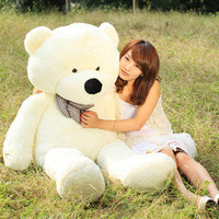 HOT GIANT 100 BIG PLUSH SLEEPY TEDDY BEAR HUGE SOFT 100% COTTON TOY*white color