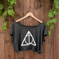 "Deathly Hallows Crop Top - In ""ALMOST BLACK"" - One Size American Apparel Loose Crop T"