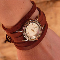 Leather Wrap Watch Cuff Bracelet