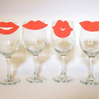 Red Lips Wine Charms, Kiss (Set of Four to clip on your glass)