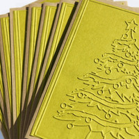 Christmas Tree Cards, Embossed, Set of 8