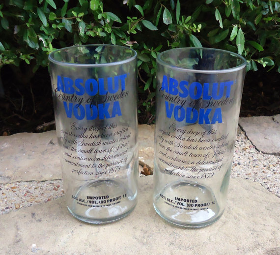 Recycled absolut vodka bottles made into from for Alcohol bottles made into glasses