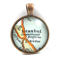 Istanbul, Turkey, Pendant from Vintage Map, in Glass Tile Circle