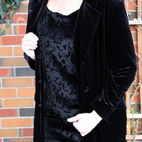 plus size black velvet coat / steampunk goth by thewitcheryvintage