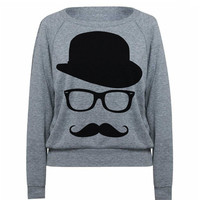 Womens MUSTACHE Sweatshirt Hat Wayfarer Tri-Blend Raglan Pullover Sweater  - American Apparel - S M and L (8 Color Options)