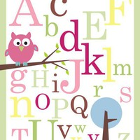 ABC Poster print Owl on branch11X14 by KidOBabyAccesories
