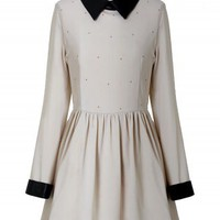 Faux Leather Collar Dress in Nude - New Arrivals - Retro, Indie and Unique Fashion