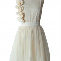 3D Flower Fluted Hemline Tulle Dress in Ivory - New Arrivals - Retro, Indie and Unique Fashion