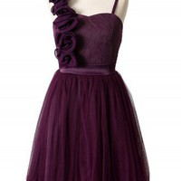3D Flower Fluted Hemline Tulle Dress in Violet - New Arrivals - Retro, Indie and Unique Fashion