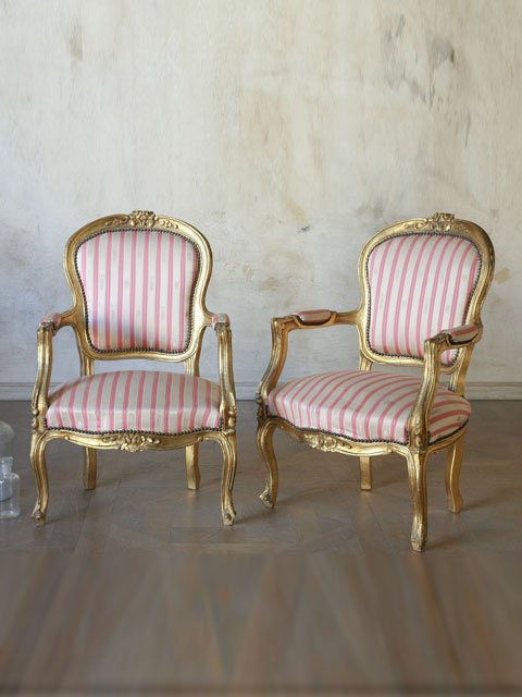 Antique Pair of Classic Louis XV Style Armchairs in Gold with Silk Upholstery - $1695/pr - The Bella Cottage