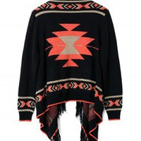 Aztec Fringe Fairisle Cape in Black - New Arrivals - Retro, Indie and Unique Fashion
