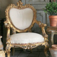 SOLD Pair of Stunning Italianate Armchairs in Gold - &amp;#36;2995/pr - The Bella Cottage