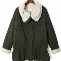 Aviation Faux Fur Oversize Jacket in Olive - New Arrivals - Retro, Indie and Unique Fashion