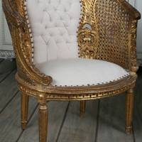 SOLD Vintage Gold Banquette Bedroom Chairs with Tufted Backs - $1570/pr - The Bella Cottage