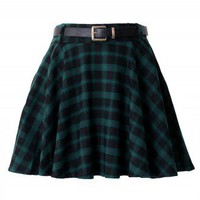 Green Plaid Skater Skirt with Belt - New Arrivals - Retro, Indie and Unique Fashion