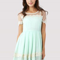 Dolly Floral Lace Trim Mint Dress - Dress - Retro, Indie and Unique Fashion