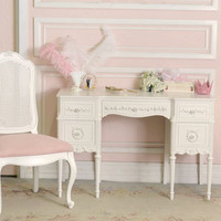 8450 - Stunning Vintage 5 Drawer Vanity Desk in White - &amp;#36;850 - The Bella Cottage
