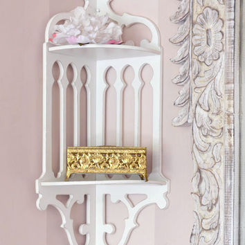 SOLD BF841 - Elegant Chic White Corner Wall Shelf - $95 - The Bella Cottage