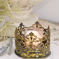 French Style Metal Gold Crown Candle Holder - Small - &amp;#36;12 - The Bella Cottage