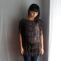 Suede fringe top - boho fringe top leather fringe top suede tunic for women