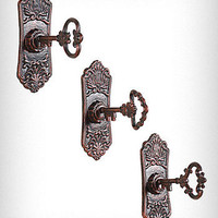 Cast Iron Key in Lock Wall Hooks Set