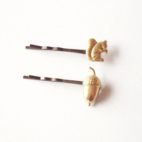 Into the Woods - Squirrel Acorn Bobby Pins - Gold Golden - Cute Adorable - Minimal Nature Inspired Rustic - Whimsical Whimsy Dreamy Woodland