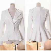 Peplum Couture Jacket White  — Tanny's Couture LLC