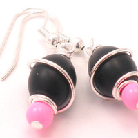 Black and Pink Earrings - Wire Wrapped Silver with Silver Hooks