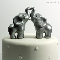 Elephant Wedding Cake Toppers - Silver Elephant Sculptures - Handmade with Polymer Clay