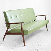 Mid Century Green Sofa - Modern, Wood, Couch, Retro, Leather look, Eames