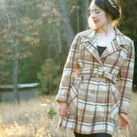1960s Wool Plaid Coat... Brown Plaid... 60s Mod Autumn Winter Coat... PADDINGTON STATION (medium/large)