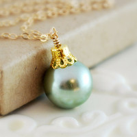 Mint Green Christmas Necklace Glass Pearl Fun Wire Wrapped Gold Holiday Jewelry Complimentary Shipping