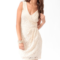 Pleated Crossover Lace Dress