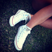 Made to Order - White Studded Converse Chuck Taylors